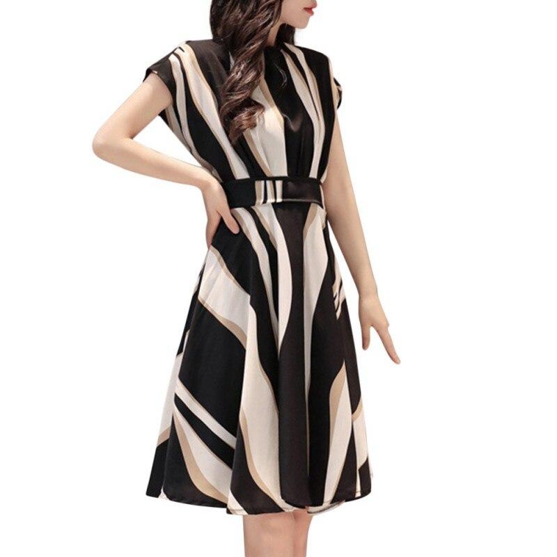 2018 Модные миди платье с короткими рукавами платье в полоску новые летние Для женщин  тело украшения темперамент новое поступление