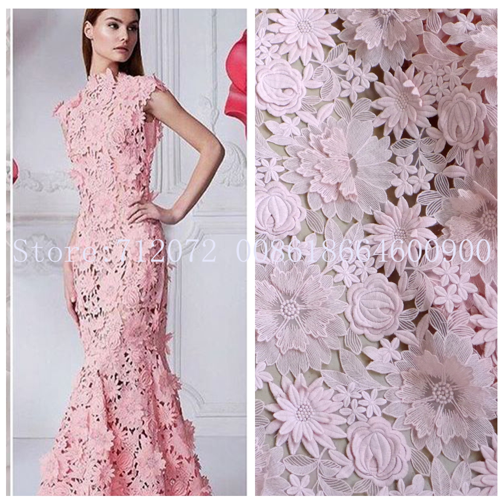 Light pink off white fashion show 3d hollow embroidered for French lace fabric for wedding dresses