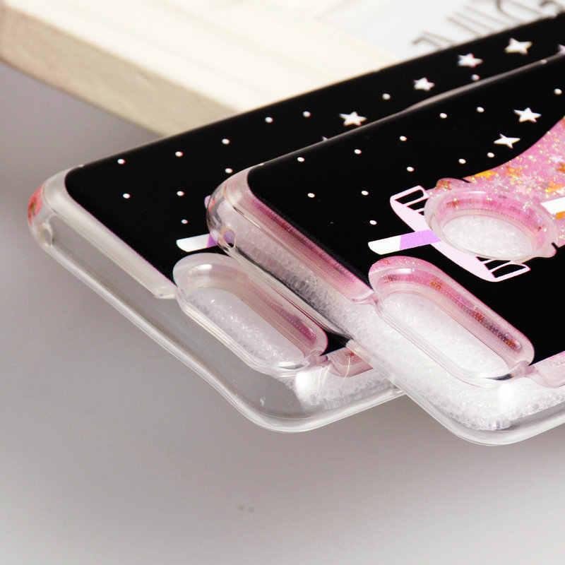 Apa Yang 7X untuk Huawei Honor7X Case Silicon Glitter Quicksand Liquid Tahan Guncangan Case untuk Huawei Honor 7X Tritone Kasus