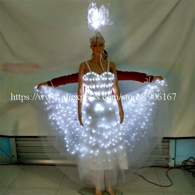 2016 Led Luminous Evening Party Dress Sexy Women Stage Costumes Light Up Performance Clothes For Club Party Bar Halloween