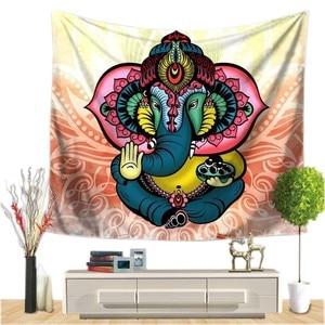 Image 1 - Индийский Слон Настенный Гобелен Мандала Цветочный Ковер шикарное богемное украшение детская комната пляжное полотенце Племя Стиль Декор