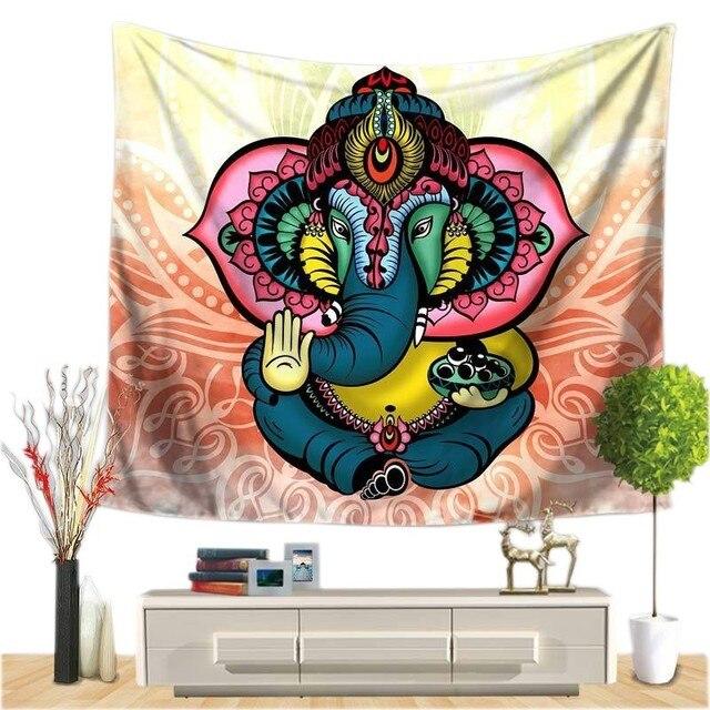 Индийский Слон Настенный Гобелен Мандала Цветочный Ковер шикарное богемное украшение детская комната пляжное полотенце Племя Стиль Декор