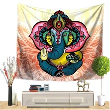Indian Elephant Wall Hanging Tapestry Mandala Floral Carpet Chic Bohemia Decoration Kids Room Beach Towel Tribe Style Decor