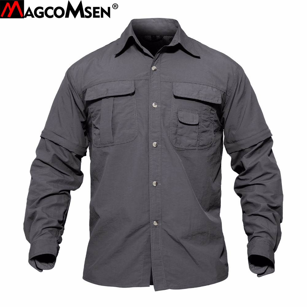 3799d7845db3 MAGCOMSEN Men Shirt Removable Quick Dry Breathable Tactical Shirt Summer  Travel Military Workout Long Sleeve Shirts AG-SMYJ-01