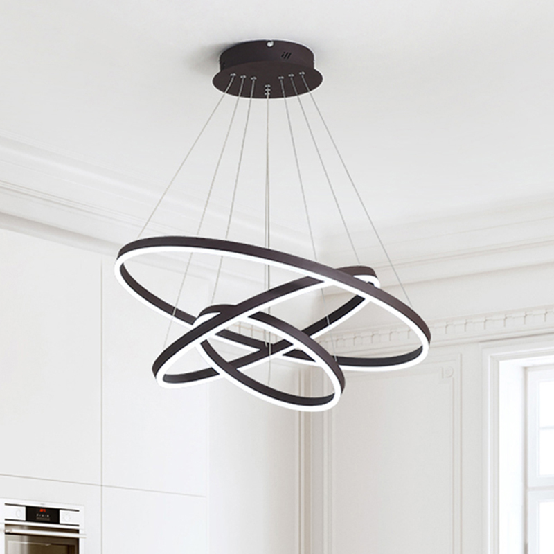 Modern LED Chandeliers Living Room Bedroom Dining room Black/White Circle Rings Decoration Lamp luminaire led lighting fixturesModern LED Chandeliers Living Room Bedroom Dining room Black/White Circle Rings Decoration Lamp luminaire led lighting fixtures