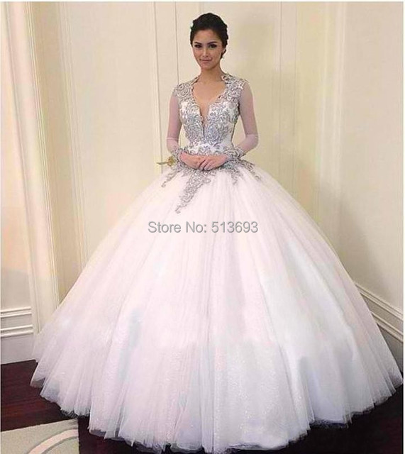 Hot Selling V Neck with Full Sleeves Keyhole Back White Organza Ball ...