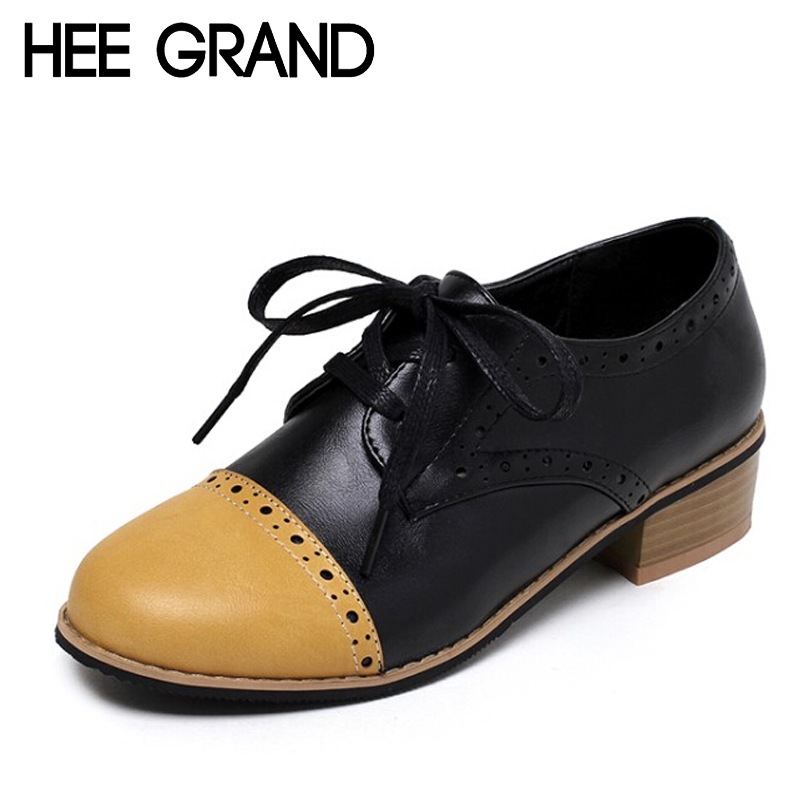 ФОТО HEE GRAND British Style Women Oxfords Spring Lace-Up Platform High Heels Casual Shoes Woman Creepers Autumn Size Plus XWD4180