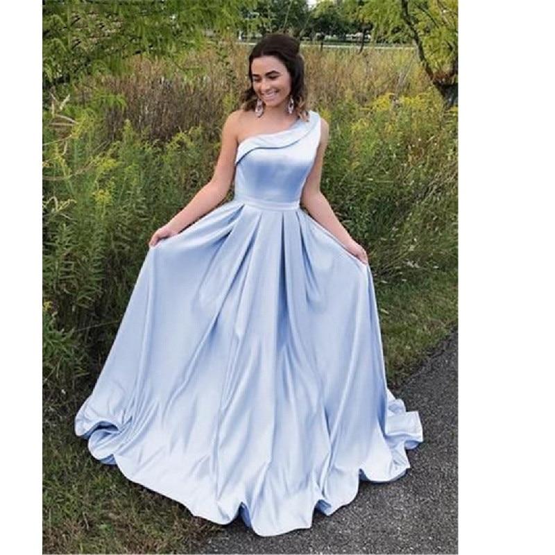 2019   Prom     Dresses   A-Line One Shoulder Satin Long Evening   Dress   Simple   Prom   Gown Cheap vestidos de fiesta vestido boda