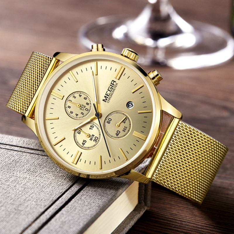 Top Luxury Brand Men Stainless Steel Megir Watch Mesh Strap Waterproof Wristwatches Mens Clock Fashion Casual Quartz Watches men luxury automatic mechanical watch fashion calendar waterproof watches men top brand stainless steel wristwatches clock gift