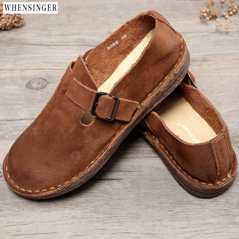 Whensinger - Women Flat Shoes Fashion Loafers Buckle Genuine Leather Comfortable  Driving Shoes Ventilation Casual  Flats Shoe