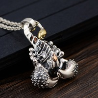S925 silver restoring ancient ways is technology Male money silver pendant The scorpion modelling silver necklace