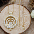Luxury Fashion Jewelry 32mm Multi Circle Coin Holder Pendant Necklace Locket 80cm Long Chain Necklace Set