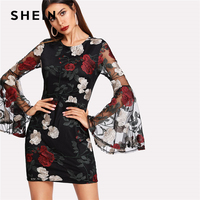 SHEIN Floral Embroidered Mesh Flare Sleeve Dress Women Black Round Neck Long Sleeve Bodycon Dress 2018