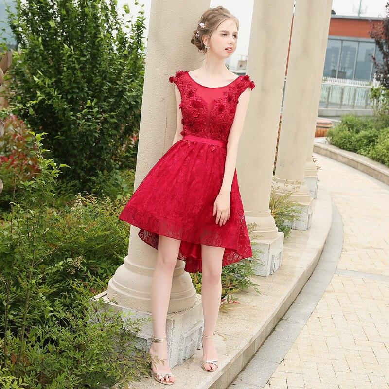 Vestido de fiesta Formal rojo alto bajo irregular manga casquillo encaje verano para mujer - 4