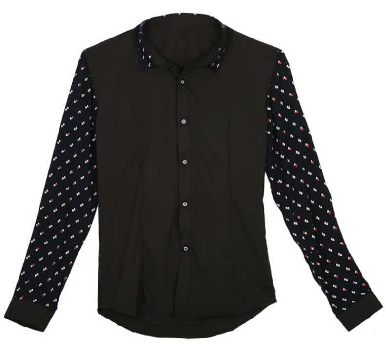 Moda męska elegancka dorywcza sukienka Slim dopasowane koszule na co dzień Patchwork Dot z długim rękawem nowa koszula