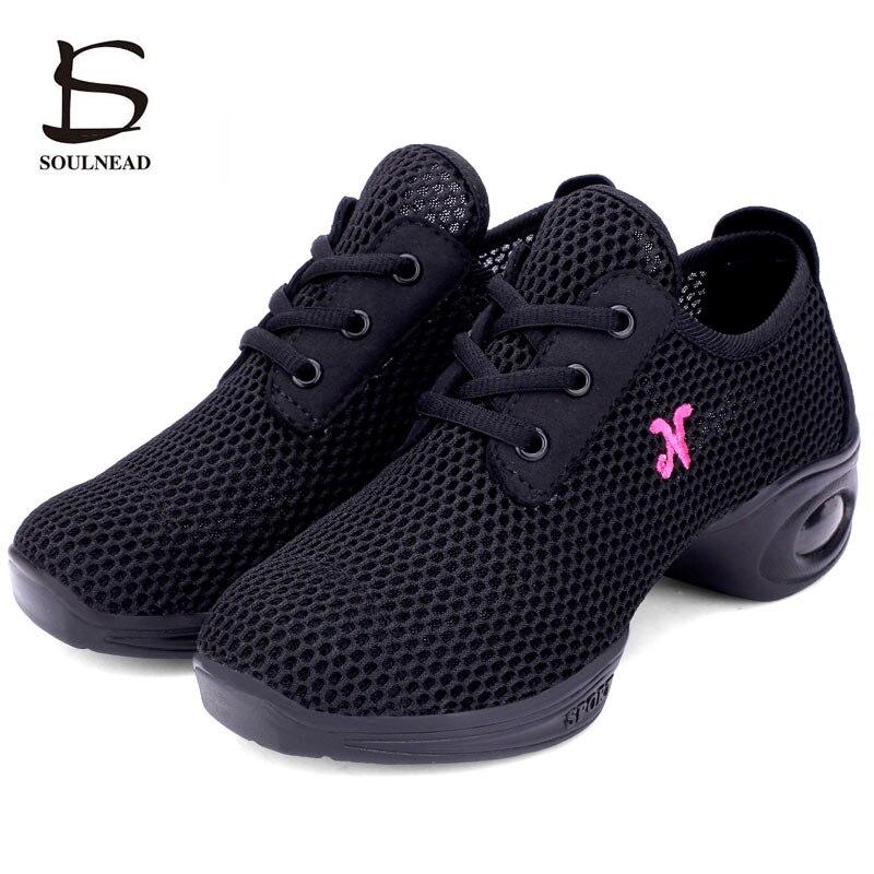 Modern Jazz Dancing Shoes Women Girls Sports Feature Jazz Shoes Dancing Sneakers Mesh Soft Rubber Sole Female Size 34-41 Zapatos
