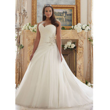 Custom Made Vintage Vestido De Novia White/Ivory Organza Beading Applique Lace Plus Size Wedding Dress