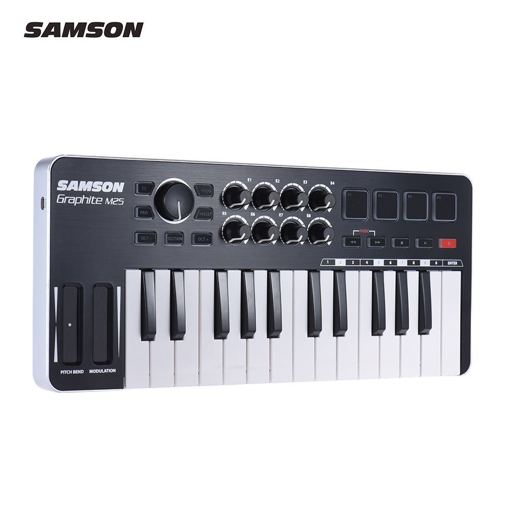 SAMSON Graphite M25 Ultra Portable Mini 25 Key USB MIDI Keyboard Controller with USB Cable 4