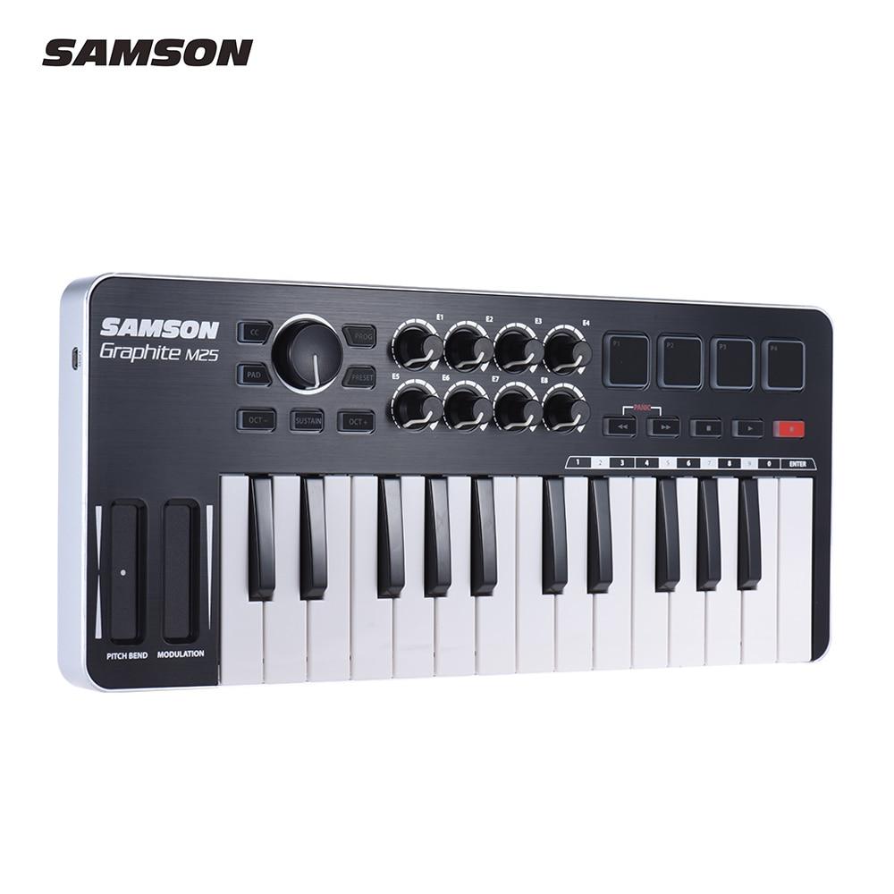 SAMSON Graphite M25 Ultra-Portable Mini 25-Key USB MIDI Keyboard Controller with USB Cable (4 Pads/ 8 Assignable Knobs)SAMSON Graphite M25 Ultra-Portable Mini 25-Key USB MIDI Keyboard Controller with USB Cable (4 Pads/ 8 Assignable Knobs)
