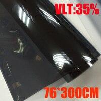 76cmx300cm/Roll Light Black Car Window Tint Film Glass VLT 35%/ Roll 1 PLY Car Auto House Commercial Solar Protection Summer