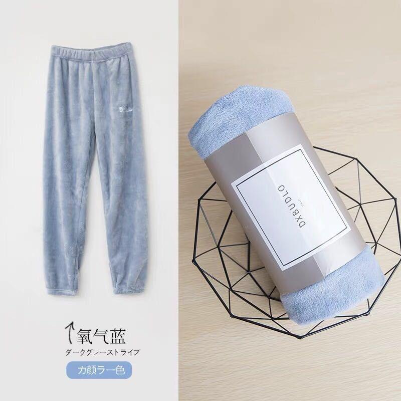 Зимние фланелевые длинные штаны для сна; Толстая Теплая Повседневная Домашняя одежда; повседневные пижамные брюки; мягкие свободные брюки; одежда для сна - Цвет: Pants-Blue