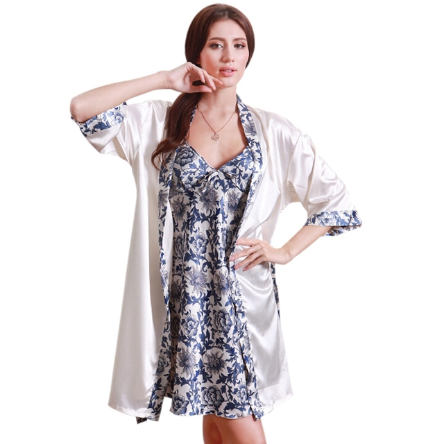 Hot Sale Chinese Style Women Pajamas Printing Sexy Dressing Gowns Summer Women Robe 2 Pieces/Set Lady Sleep Robe