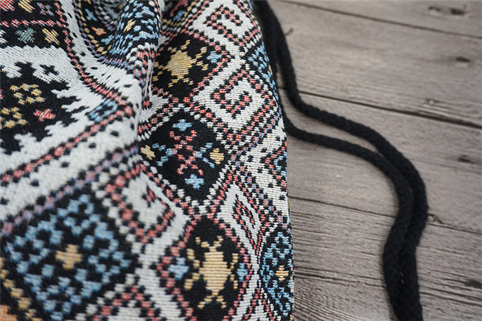 HTB1ErbHdAKWBuNjy1zjq6AOypXab LilyHood Women Fabric Backpack Female Gypsy Bohemian Boho Chic Aztec Ibiza Tribal Ethnic Ibiza Brown Drawstring Rucksack Bags