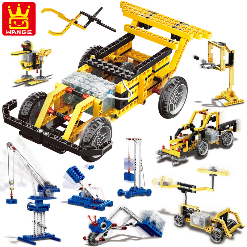 Wange Educational Learning Toys Kids DIY Set Toys Cars Plastic Model Kits Building Bricks Blocks For Boys 4 IN 1 With Motor