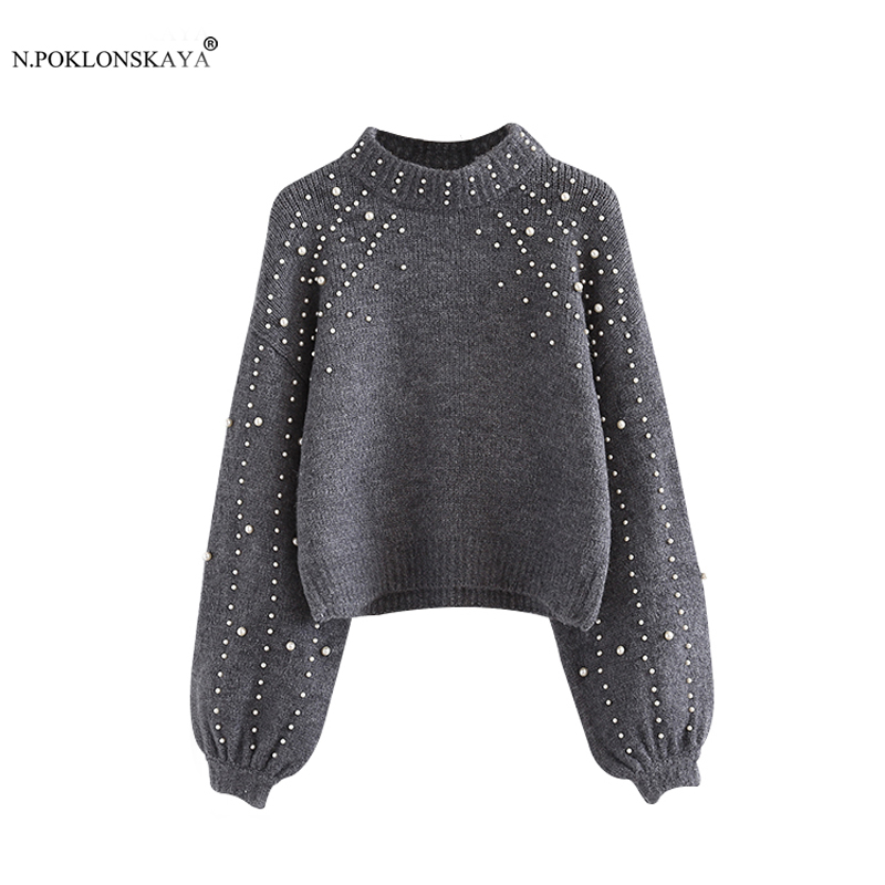 N.POKLONSKAYA Women Knitted Sweater Beading Lantern Sleeve Loose Wool Sweater Jumpers Cropped Knitwear Female Pearl Pullovers