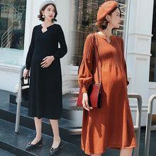 56d2d5aa9 Sólido de maternidad vestidos Plus tamaño vestido embarazada primavera  embarazo medio vestido auctor ID ropa para mujeres embara.