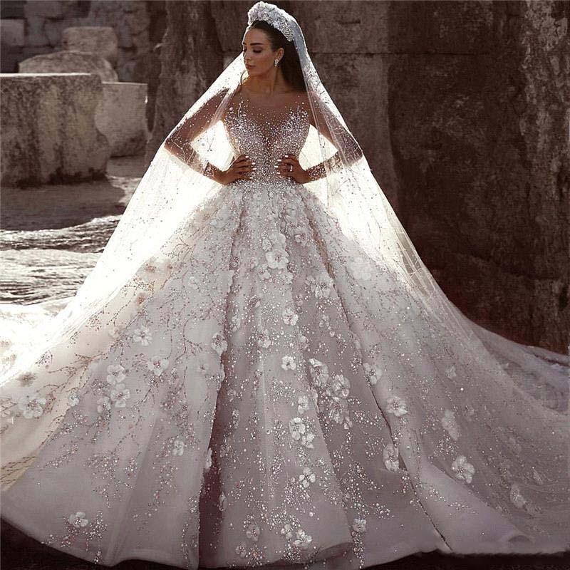 Glamorous Luxury Dubai Arabic Wedding Dress New Fashion Lace Ball Gowns Bride Dress Long Sleeves 3D Flowers Beading Bridal Gowns