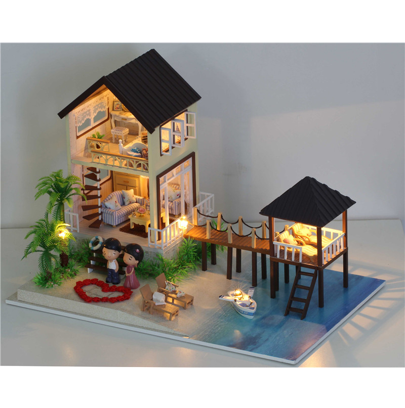 Gift for Girl Assembling DIY Miniature Model Kit Wooden Doll House,Maldives House Toy with Furnitures & Music free shipping assembling diy miniature model kit wooden doll house house toy with furnitures