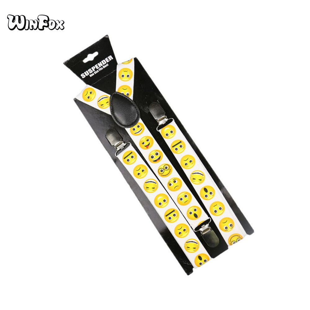 Winfox Fashion Yellow Smile Face Suspenders For Women Men Black White 2.5cm Wide Elastic Suspenders Braces Suspensorio