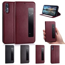 For Huawei P20 Genuine Leather Case for Huawei P10 Magnetic Cover Coque For Huawei P10 Plus P20 Pro Flip Case With Window View for huawei p20 pro magnetic smart genuine leather flip case 3d crocodile texture luxury business cover for huawei p20 pro case