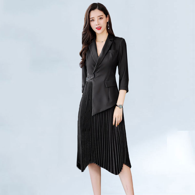 2019 letnie panie Runway suknie moda wysokiej jakości kieszenie przycisk luksusowe nieregularne plisowana sukienka kobiety robe femme w Suknie od Odzież damska na  Grupa 1