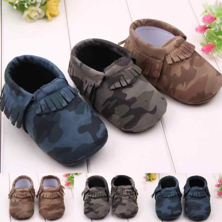3ca1f7720 ... Infant Toddler camo Leopard baby shoes Soft PU Leather Tassel Moccasins  soft sole fashion prewalker first ...