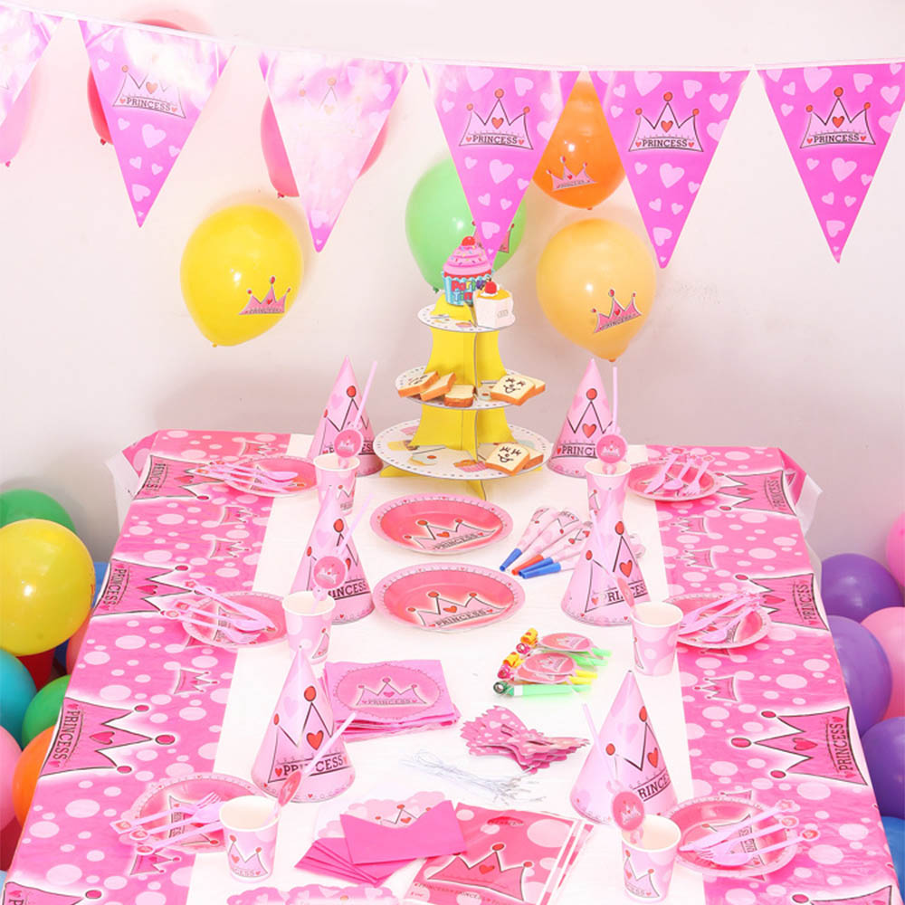 Party Supplies Set 16 Kinds 90pcs Girl Boy Birthday Decoration Tableware Disposable Table Cover Plate Cup Napkin Utensil Banner