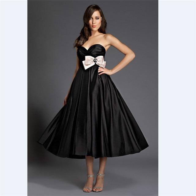 Elegant Black Satin evening Dresses Tea Length A Line Sweetheart ...