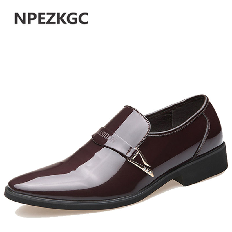 NPEZKGC Brand New Oxford Shoes For Men Fashion Men Leather Shoes Slip On Spring Autumn Men Casual Flat Patent Leather Men Shoes new fashion autumn solid color men shoes leather low slip on men flats oxford shoes for men driving shoes size 38 44 yj a0020