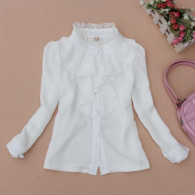 בית הספר ילדים חולצות לילדות ילדים לבוש שרוול ארוך שיפון לבן חולצות לתלמידי בית ספר מדים נוער נוער 2-14Y