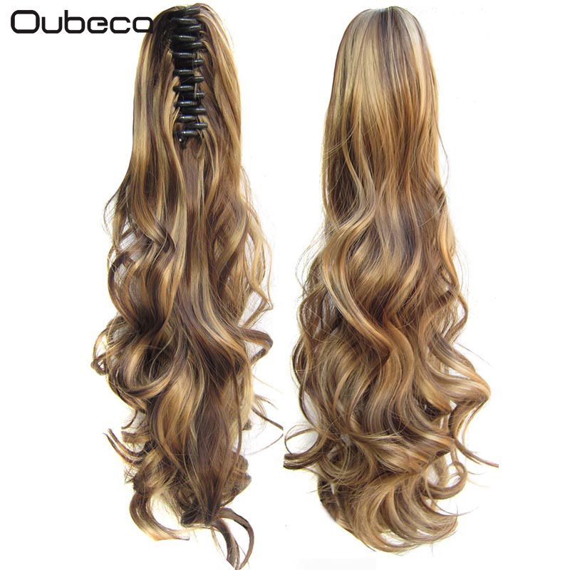Oubeca Synthetic Fiber Claw Clip Wavy Ponytail Extensions Long Thick Wave Pony Tail Hair Piece Clip In Hair Extensions For Women