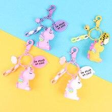 Creative Rainbow PVC Animal Unicorn Shaped Pendant Keychain for Men Women Bag Phone Car Key Chain Porte Clef KeyRing