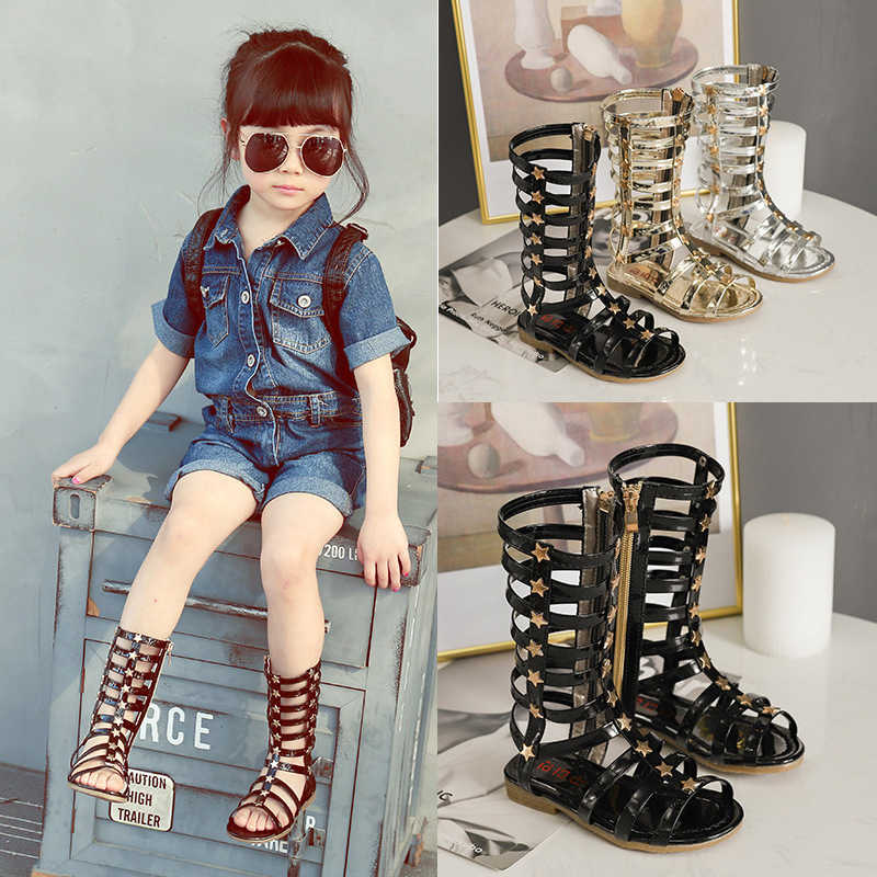 Children Little Girls Summer Black Gold Rivet Rome Long Hollow Sandals Boots For Kids Girls School Dress Shoes Sandals Shoe New