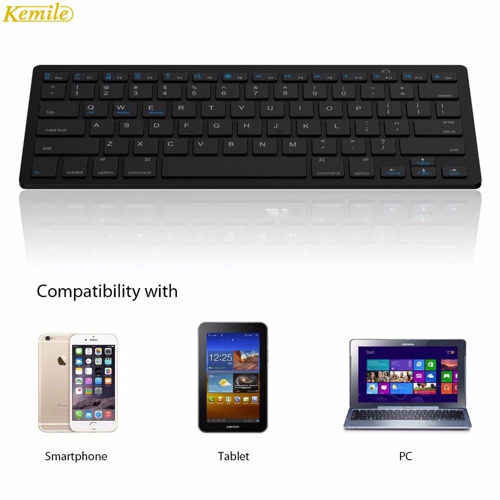 Image 3 - Kemile оптовая продажа профессиональная ультра тонкая беспроводная клавиатура Bluetooth 3,0 Клавиатура Teclado для Apple для iPad серии iOS системы-in Клавиатуры from Компьютер и офис