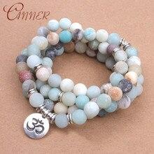 CANNER Amazonite Stone Bracelets Bangles Lotus Charm for Women Boho Jewelry Yoga Balance Beads Bracelet Prayer Armband