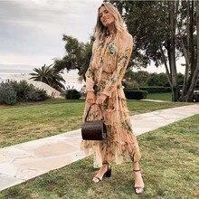 2019 jesienna sukienka jedwabna z pełnym rękawem falbany kwiatowy print czeska sukienka womend
