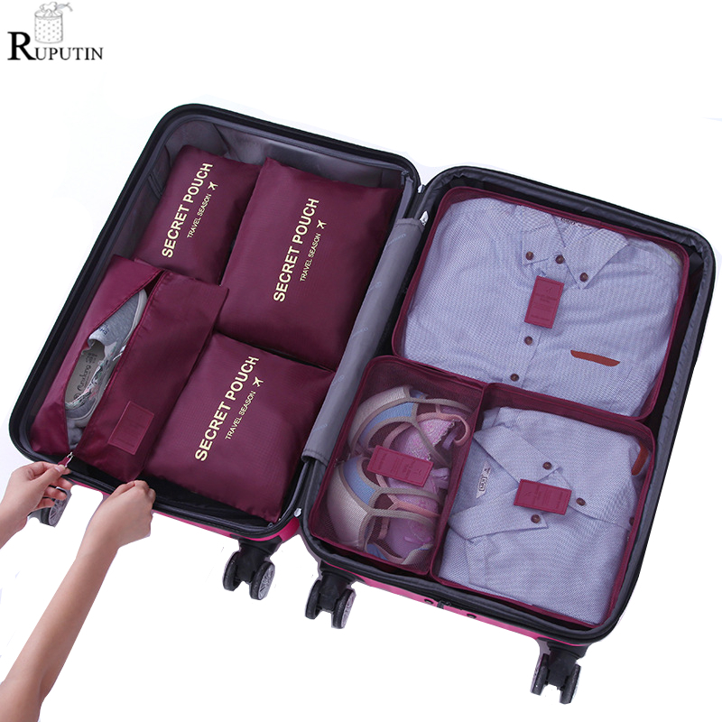 Portable Clothes Storage Bag Folding Closet Organizer For Tidy Wardrobe Suitcase Pouch Travel Storage Box Shoes Packing Cube Set in Storage Bags from Home Garden