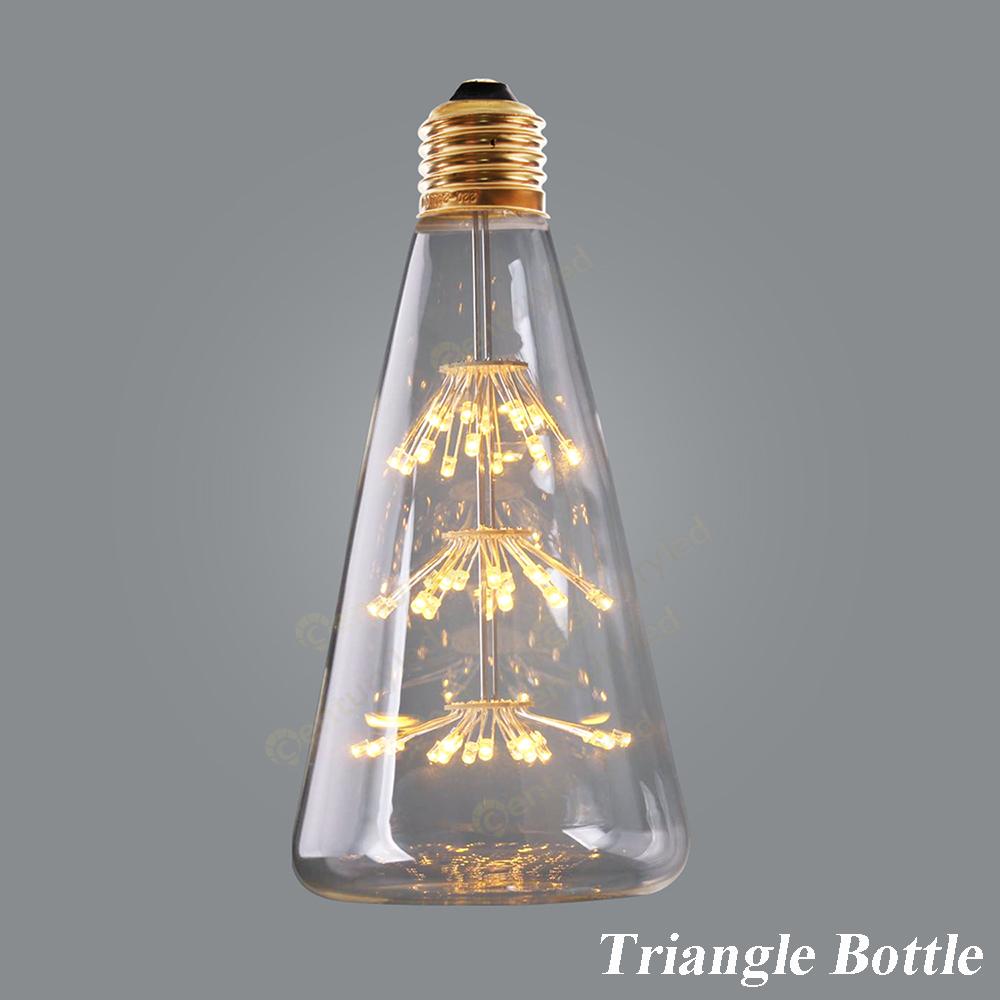 Firework Starry,Triangle Bottle Creative Bulbs,3W,Edison LED light Bulb,Antique Retro Vintage Led Filament ,E26 E27 Base