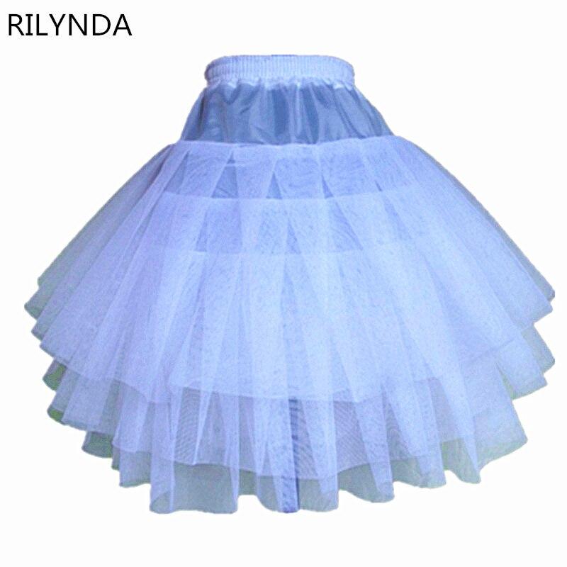 2017 Top Quality <font><b>Stock</b></font> Three Layer Net White A-Line Flower Girl Dress Petticoat / Child Crinolines/Underskirt