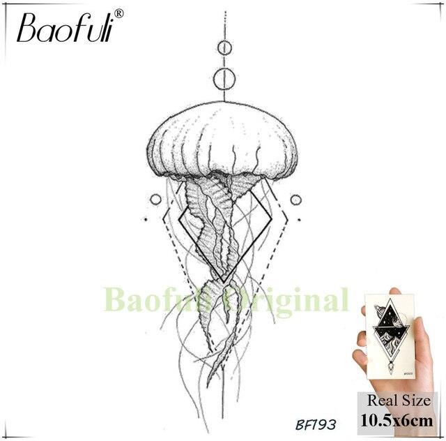 Baofuli Waterproof Temporary Sticker Geometric Planet Jellyfish Tattoo Black Triangle Tattoos Body Arm Men Fake Tatoos Chains 3